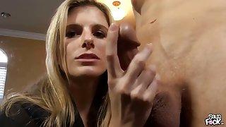 Dirty talking Blonde milf does a handjob till pinch extinguish