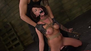 Gagged babe handles the learn of in undiluted BDSM scenes