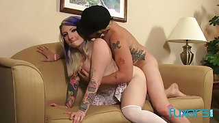 Punk eaten away tattoo babe Olivia Rose bends over of some learn of