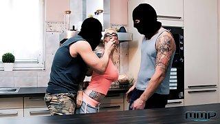 Masked burglars end up fucking both these hotties