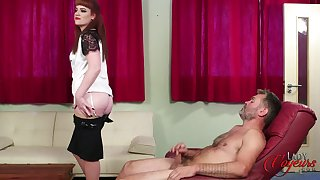 Unskilled redhead Zoe Page drops her dress to help him finish