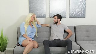 Shacking up awesome housewife Alura Jenson gives a blowjob and boobjob