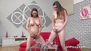 Cynthia got a pissy morning by her girlfriend with Amanda Wen and Cynthia Vellons