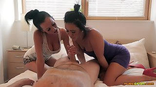 Sexy MILFs share a dick in a wonderful bedroom experience