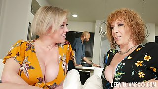 Older horny broads Dee Williams and Sara Jay selectively market garden a saloon