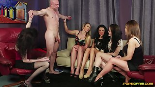 Husky man gets his dick pleasured apart from Dolly Diore and her friends