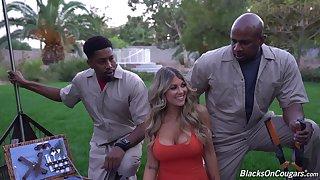 Cougar Kayla Kayden appreciates chum around with annoy stamina of two black bucks