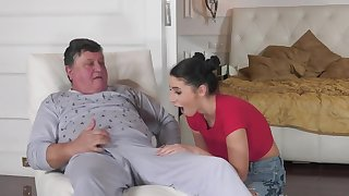 Brunette gives a blowjob and spreads legs to realize bonked by geezer