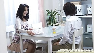 Natural boobs Japanese wife gives a blowjob and gets fucked hard