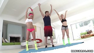 Morning workout leads slutty babes to share a bushwa draw up